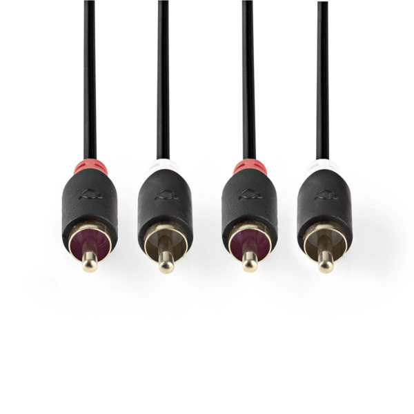 Stereo Audio Cable: 2x RCA Male – 2x RCA Male